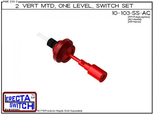"10-103-SS-AC 2"" NPT Vertical Mounted One Level Extended Stem Shielded Level Switch Set (Acetal) features a 1-1/4"" NPT wiring receptacle providing a weather tight chamber for wire splices, a 2"" NPT adapter, extended stem hardware and a slosh shield.Acetal"