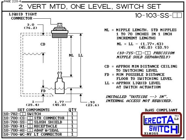"Diagram - 10-103-SS-AC 2"" NPT Vertical Mounted One Level Extended Stem Shielded Level Switch Set (Acetal) features a 1-1/4"" NPT wiring receptacle providing a weather tight chamber for wire splices, a 2"" NPT adapter, extended stem hardware and a slosh shi"