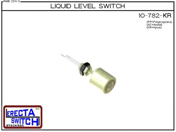 10-782-KR Level Switch is the most versatile level switch in the world. Much more than a stand alone liquid level switch, it is the key liquid level switching element in all level switch sets extended level switch sets, and multi level switch sets in the