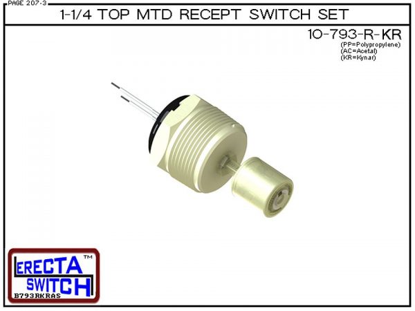 """10-793-R-KR 1-1/4"""" NPT Top Mounted Receptacle Level Switch Set includes a 10-782 liquid level switch with a 1-1/4"""" NPT wiring receptacle providing a weather tight chamber for wire splices.Kynar liquid level switch version is suitable for harsh acids, caus"""