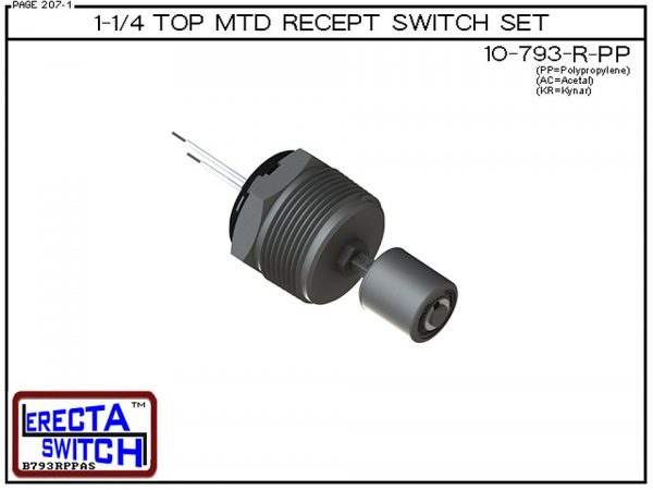 "10-793-R-PP 1-1/4"" NPT Top Mounted Receptacle Level Switch Set includes a 10-782 liquid level switch with a 1-1/4"" NPT wiring receptacle providing a weather tight chamber for wire splices.Polypropylene Liquid Level Switch version is suitable for water, so"