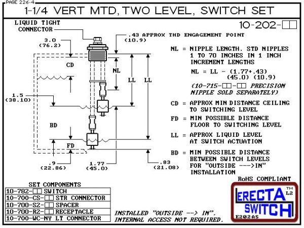 "Diagram - 10-202-AC 1-1/4 Vertical Mounted Two Level Multi Level Switch Set (Acetal) features a 1-1/4"" NPT receptacle providing a weather tight chamber for wire splices.Acetal Liquid Level Switch Version is suitable for hydrocarbon applications such as ga"