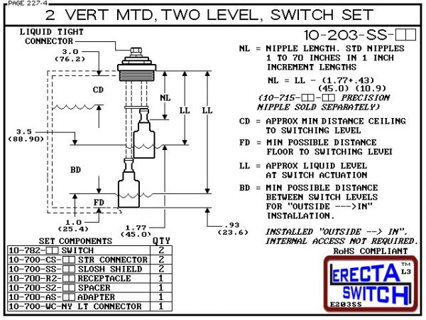 """Diagram - 10-203-KR 2"""" NPT Vertical Mounted Two Level Extended Stem Shielded Multi Level Switch Set (Kynar) features a 1-1/4"""" NPT wiring receptacle providing a weather tight chamber for wire splices, a 2"""" NPT adapter, extended stem hardware and slosh shie"""