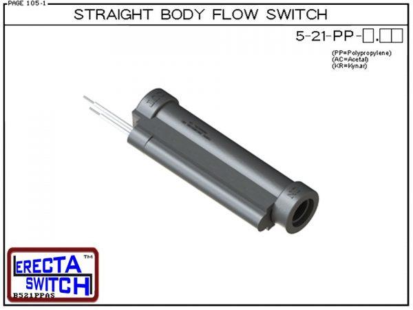 Flow Switch - ERECTA SWITCH 5-21-PP-X.XX Straight Body flow sensor - Polypropylene