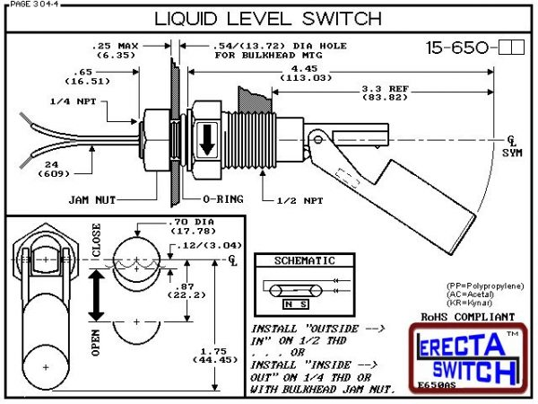 "Diagram - 15-650-PP Liquid Level Switch is the ""Quintessential"" side mounted level switch. 15-650 level switches are made up of two cleverly sculptured, injection molded sections. A housing section, containing a sealed in glass magnetic switch and a float"