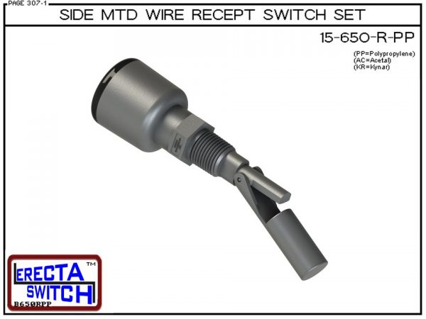 15-650-R-PP Side MTD Wire Recept Level Switch Set adds a weather tight wire receptacle to the 15-650 side mounted level switch. The level switch wire receptacle replaces the jam nut and provides a weather tight chamber for wire splices.Polypropylene liqui