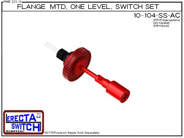"""10-104-SS-AC Flange Vertical Mounted One Level Shielded Level Switch Set (Acetal) features a 1-1/4"""" NPT wiring receptacle providing a weather tight chamber for wire splices, slosh shield and our unique flange nuts.Acetal Liquid Level Switch Version is su"""