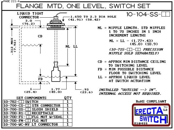 """Diagram - 10-104-SS-AC Flange Vertical Mounted One Level Shielded Level Switch Set (Acetal) features a 1-1/4"""" NPT wiring receptacle providing a weather tight chamber for wire splices, slosh shield and our unique flange nuts.Acetal Liquid Level Switch Ver"""