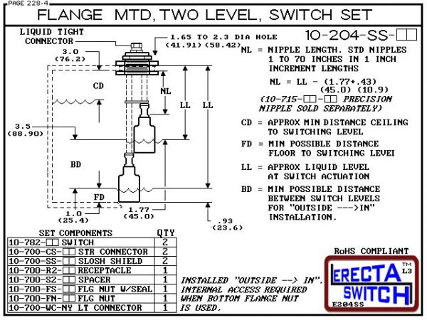 "Diagram - 10-204-AC Flange Vertical Mounted Two Level Shielded Multi Level Switch Set (Acetal) features a 1-1/4"" NPT wiring receptacle providing a weather tight chamber for wire splices, slosh shields and our unique flange nuts.Acetal Liquid Level Switch"