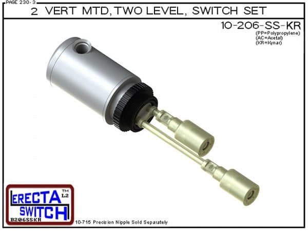 """10-206-KR Multi Level Switch 2"""" NPT Relay Housing Vertical Mounted Two Level extended Stem Shielded level switch Set (Kynar). 1-1/4"""" NPT Relay Housing featured in this multi level switch set provides a liquid tight chamber for your control relay or wire s"""