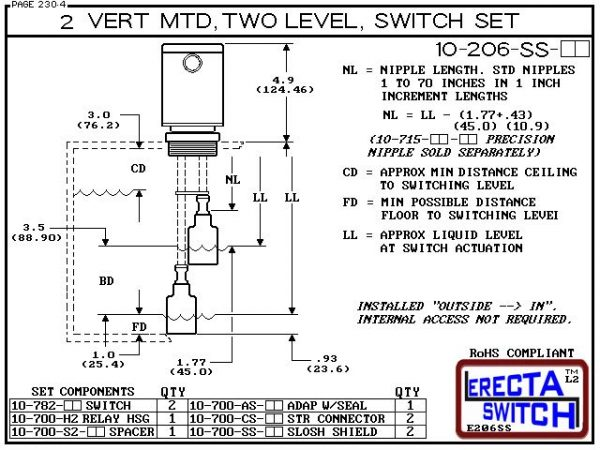 """Diagram - 10-206-KR Multi Level Switch 2"""" NPT Relay Housing Vertical Mounted Two Level extended Stem Shielded level switch Set (Kynar). 1-1/4"""" NPT Relay Housing featured in this multi level switch set provides a liquid tight chamber for your control relay"""