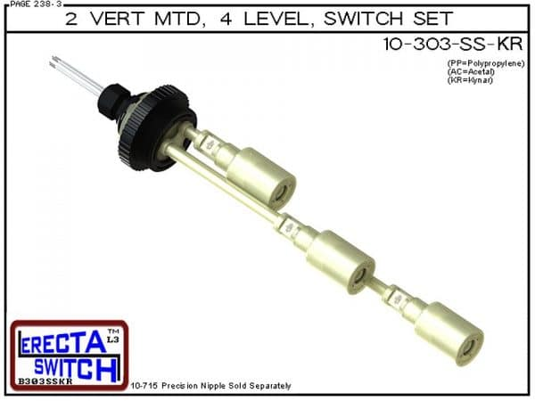 """10-303-KR Multi Level Switch 2"""" NPT Vertical Mounted Extended Stem Shielded Three Level Switch Set (Kynar) features a 1-1/4"""" NPT wiring receptacle providing a weather tight chamber for wire splices, a 2"""" NPT adapter, extended stem hardware and slosh shiel"""