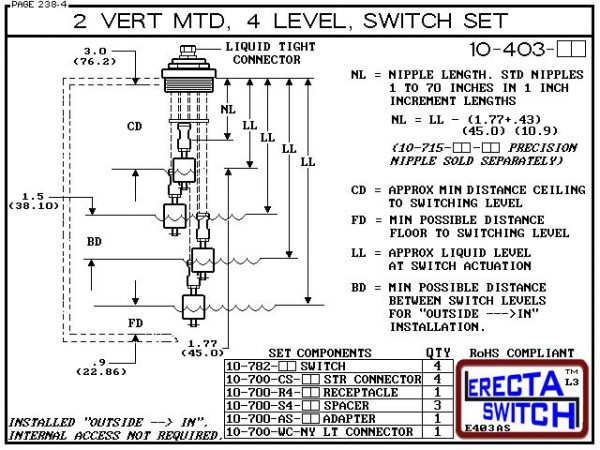 """Diagram - 10-403-AC 2"""" NPT Vertical Mounted Four Level Extended Stem Shielded Multi Level Switch Set features a 1-1/4"""" NPT wiring receptacle providing a weather tight chamber for wire splices, a 2"""" NPT adapter, extended stem hardware and slosh shields.Ace"""