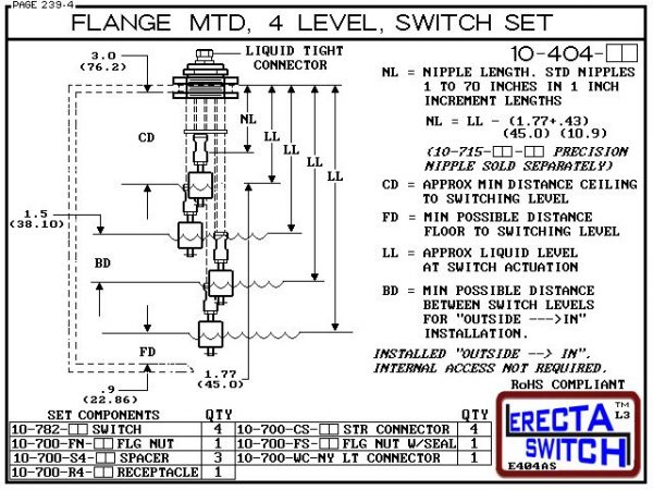 """Diagram - 10-404-KR Flange Vertical Mounted Four Level Shielded Multi Level Switch Set features a 1-1/4"""" NPT wiring receptacle providing a weather tight chamber for wire splices, slosh shields and our unique flange nuts.Kynar Liquid Level Switch version i"""