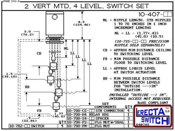"""Diagram - 10-407-KR Flange Mounted Relay Housing Vertical Mounted Four Level Shielded Multi Level Switch Set features a 1-1/4"""" NPT Relay Housing providing a liquid tight chamber for your control relay or wire splices and and our unique flange nuts.Kynar L"""