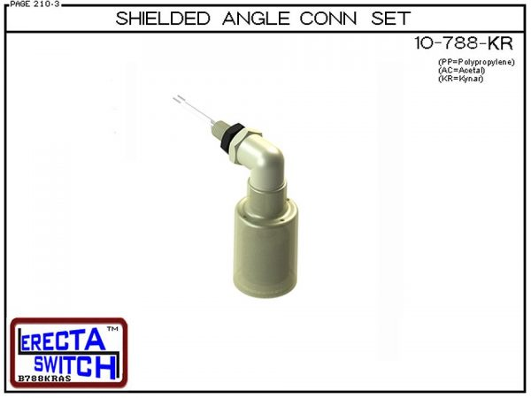 10-788-KR Shielded Angle Connector Side Mounted Liquid Level Set (Kynar) adds an angle connector and slosh shield to the 10-782 vertical mounted level switch transforming it to a side mounted shielded liquid level switch.Kynar Level Switch version is suit