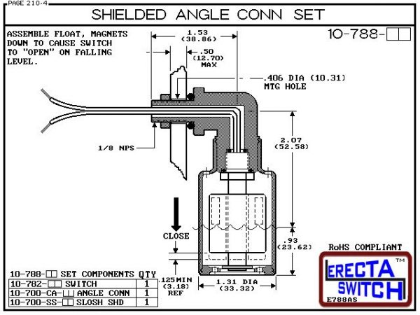 Diagram - 10-788-AC Shielded Angle Connector Side Mounted Liquid Level Set (Acetal) adds an angle connector and slosh shield to the 10-782 vertical mounted level switch transforming it to a side mounted shielded liquid level switch.Acetal Liquid Level Swi