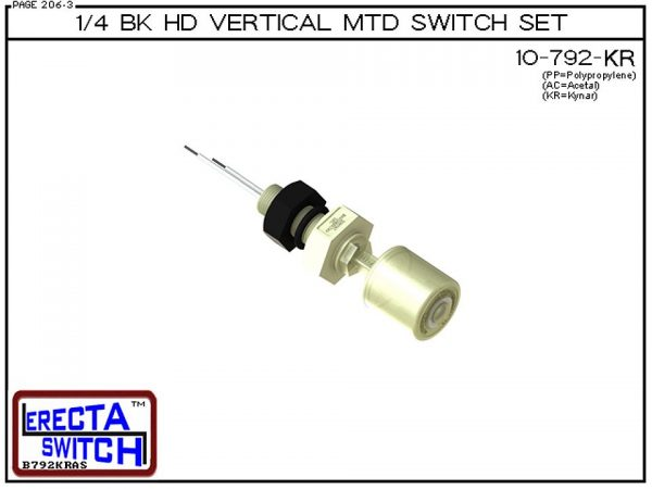 "10-792-KR 1/4 Bulk Head Vertical Mounted Level Switch adds a 1/4"" NPT bulkhead fitting to the 10-782 Liquid level switch. Liquid Level Sensor set seals to the bulkhead fitting with double o ring seal. Mount this level switch set to an existing 1/4"" NPT fe"