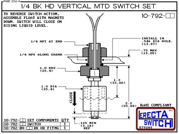 """Diagram - 10-792-AC 1/4 Bulk Head Vertical Mounted Level Switch adds a 1/4"""" NPT bulkhead fitting to the 10-782 Liquid level switch. Liquid Level Sensor set seals to the bulkhead fitting with double o ring seal. Mount this level switch set to an existing 1"""