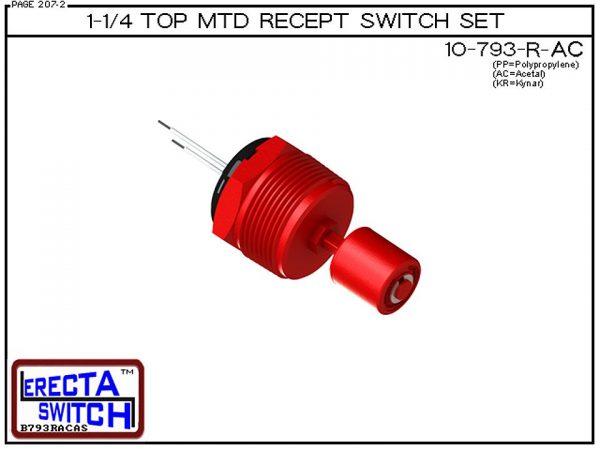 "10-793-R-AC 1-1/4"" NPT Top Mounted Receptacle Level Switch Set includes a 10-782 liquid level switch with a 1-1/4"" NPT wiring receptacle providing a weather tight chamber for wire splices.Acetal Liquid Level Switch version is suitable for hydrocarbon appl"
