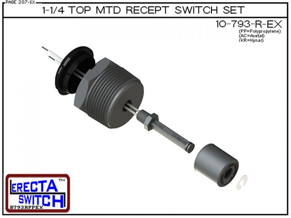 "Exploded View - 10-793-R-AC 1-1/4"" NPT Top Mounted Receptacle Level Switch Set includes a 10-782 liquid level switch with a 1-1/4"" NPT wiring receptacle providing a weather tight chamber for wire splices.Acetal Liquid Level Switch version is suitable for"