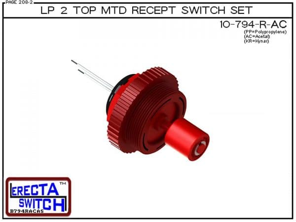 "10-794-R-AC Low Profile 2"" NPT Top Mounted Receptacle Level Switch Set includes a 10-782 Liquid level switch with a 1-1/4"" NPT wiring receptacle providing a weather tight chamber for wire splices and a 2"" NPT adapter.Acetal Liquid Level Switch version is"