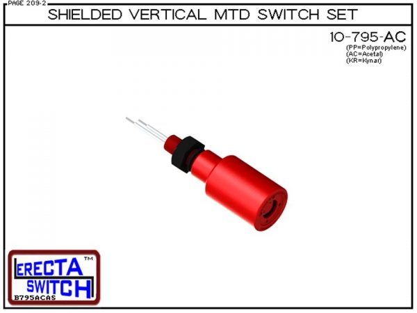 """10-795-AC Shielded 1/4"""" NPT bulkhead Vertical Mounted Level Switch Set (Acetal) adds a 1/4"""" NPT bulkhead fitting and slosh shield to the 10-782 Liquid level switch.Acetal Liquid Level Switch Version is suitable for hydrocarbon applications such as gasolin"""