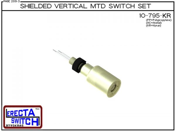 """10-795-KR Shielded 1/4"""" NPT bulkhead Vertical Mounted Level Switch Set (Kynar) adds a 1/4"""" NPT bulkhead fitting and slosh shield to the 10-782 Liquid level switch.Kynar Level Switch version is suitable for harsh acids, caustics, chlorine and other highly"""