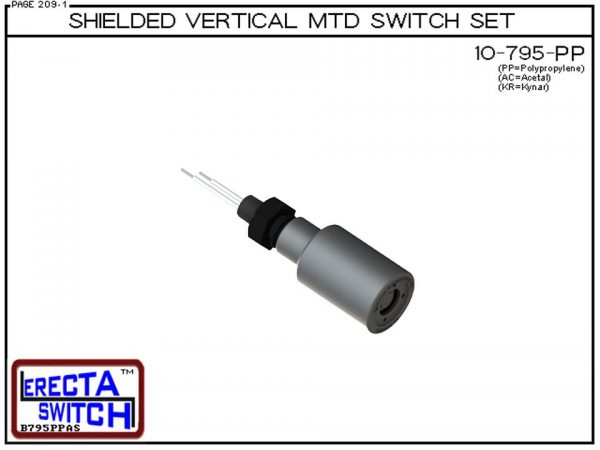 """10-795-PP Shielded 1/4"""" NPT bulkhead Vertical Mounted Level Switch Set (Polypropylene) adds a 1/4"""" NPT bulkhead fitting and slosh shield to the 10-782 Liquid level switch.Polypropylene liquid level switch version is suitable for water, soaps , light acid"""