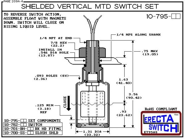 """Diagram - 10-795-PP Shielded 1/4"""" NPT bulkhead Vertical Mounted Level Switch Set (Polypropylene) adds a 1/4"""" NPT bulkhead fitting and slosh shield to the 10-782 Liquid level switch.Polypropylene liquid level switch version is suitable for water, soaps , l"""