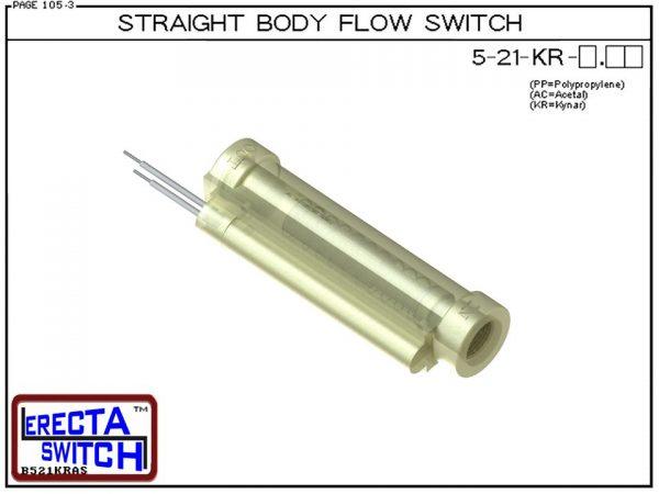 Flow Switch - ERECTA SWITCH 5-21-KR-X.XX Straight Body flow sensor - Kynar