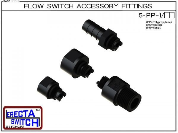 5-PP Flow Switch / Flow Sensor / Flow indicator Accessory Fittings - Polypropylene