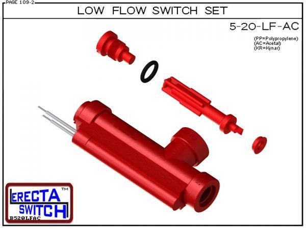 Flow Switch - ERECTA SWITCH 5-20-LF-AC Ultra Low flow sensor Set - Acetal