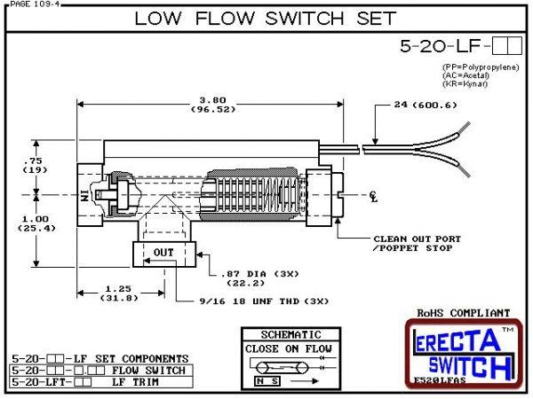 Flow Switch - ERECTA SWITCH 5-20-LF-KR Ultra Low flow sensor Set - Kynar - Diagram