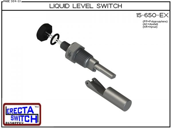"""Exploded view - 15-650-KR Liquid Level Switch is the """"Quintessential"""" side mounted level switch. 15-650 level switches are made up of two cleverly sculptured, injection molded sections. A housing section, containing a sealed in glass magnetic switch and a"""
