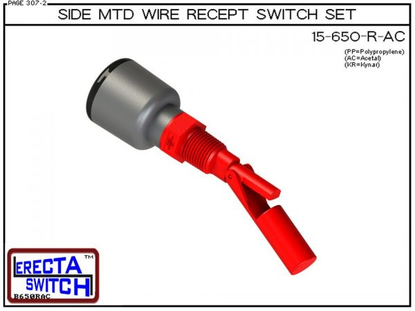15-650-R-AC Side MTD Wire Recept Level Switch Set adds a weather tight wire receptacle to the 15-650 side mounted level switch. The level switch wire receptacle replaces the jam nut and provides a weather tight chamber for wire splices.Acetal Liquid Level