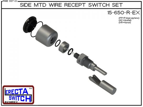 Exploded View - 15-650-R-AC Side MTD Wire Recept Level Switch Set adds a weather tight wire receptacle to the 15-650 side mounted level switch. The level switch wire receptacle replaces the jam nut and provides a weather tight chamber for wire splices.Ace