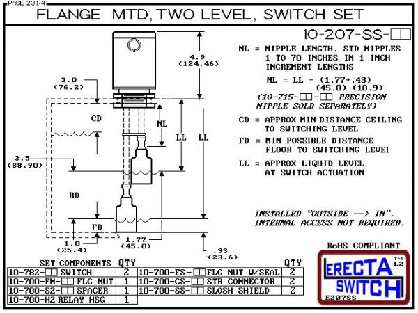 "Diagram - 10-207-PP Multi Level Switch Vertical Flange Mounted Relay Housing Shielded Two Level Switch Set (Polypropylene) features a 1-1/4"" NPT Relay Housing providing a liquid tight chamber for your control relay or wire splices and and our unique flang"