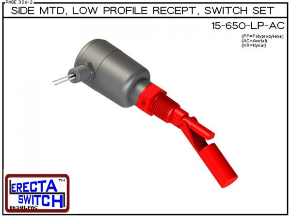 15-650-LP-PP Side MTD Low Profile Recept Level Switch Set adds a liquid tight low profile wire receptacle to the 15-650 side mounted level switch. The level switch wire receptacle replaces the jam nut and provides a liquid tight chamber for wire splices w