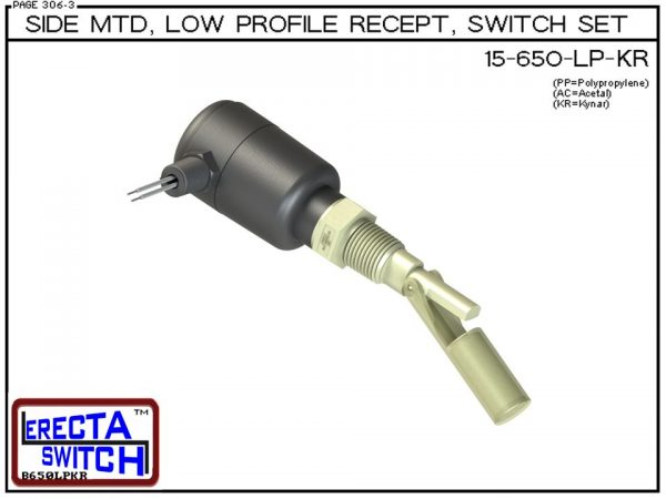 15-650-LP-KR Side MTD Low Profile Recept Level Switch Set adds a liquid tight low profile wire receptacle to the 15-650 side mounted level switch. The level switch wire receptacle replaces the jam nut and provides a liquid tight chamber for wire splices w