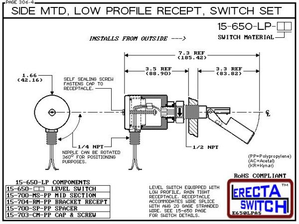 Diagram - 15-650-LP-KR Side MTD Low Profile Recept Level Switch Set adds a liquid tight low profile wire receptacle to the 15-650 side mounted level switch. The level switch wire receptacle replaces the jam nut and provides a liquid tight chamber for wire