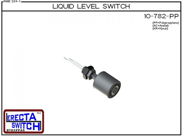 10-782-PP Level Switch is the most versatile level switch in the world. Much more than a stand alone liquid level switch, it is the key liquid level switching element in all level switch sets extended level switch sets, and multi level switch sets in the