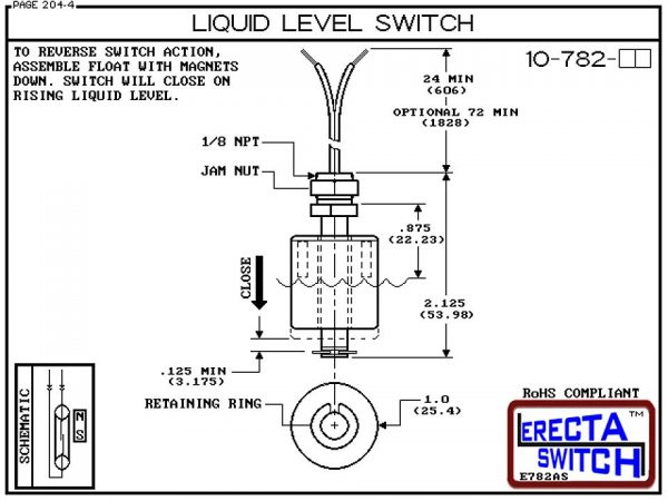 Diagarm - 10-782-PP Level Switch is the most versatile level switch in the world. Much more than a stand alone liquid level switch, it is the key liquid level switching element in all level switch sets extended level switch sets, and multi level switch se