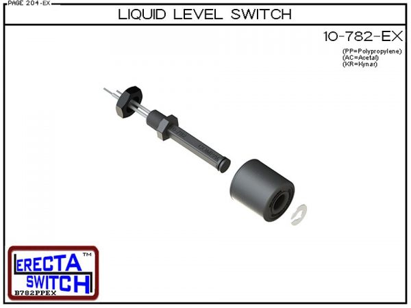 Exploded View - 10-782-PP Level Switch is the most versatile level switch in the world. Much more than a stand alone liquid level switch, it is the key liquid level switching element in all level switch sets extended level switch sets, and multi level swi