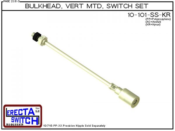"""10-101-KR-BLK 1/4"""" NPT Bulk Head Vertical Mounted Shielded Level Switch Set adds a 1/4"""" NPT bulkhead fitting, extended stem hardware and slosh shield to the 10-782 level switch.Kynar Level Switch version is suitable for harsh acids, caustics, chlorin"""