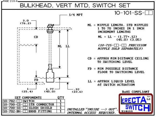 """Diagram - 10-101-AC-BLK 1/4"""" NPT Bulk Head Vertical Mounted Shielded Level Switch Set (Acetal) adds a 1/4"""" NPT bulkhead fitting, extended stem hardware and slosh shield to the 10-782 level switch.Acetal Liquid Level Switch Version is suitable for hydrocar"""