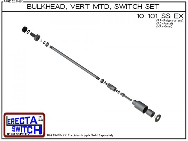 """Exploded View - 10-101-KR-BLK 1/4"""" NPT Bulk Head Vertical Mounted Shielded Level Switch Set adds a 1/4"""" NPT bulkhead fitting, extended stem hardware and slosh shield to the 10-782 level switch.Kynar Level Switch version is suitable for harsh acids, causti"""