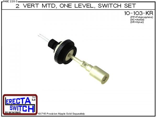 """10-103-SS-KR-BLK 2"""" NPT Vertical Mounted One Level Extended Stem Shielded Level Switch Set features a 1-1/4"""" NPT wiring receptacle providing a weather tight chamber for wire splices, a 2"""" NPT adapter, extended stem hardware and a slosh shieldKynar Liquid"""