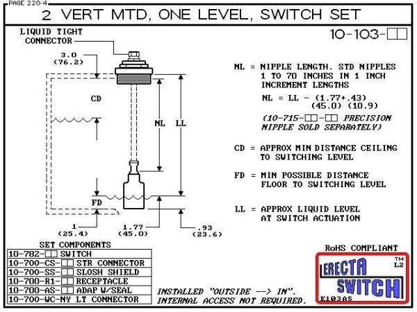 """Diagram - 10-103-SS-KR-BLK 2"""" NPT Vertical Mounted One Level Extended Stem Shielded Level Switch Set features a 1-1/4"""" NPT wiring receptacle providing a weather tight chamber for wire splices, a 2"""" NPT adapter, extended stem hardware and a slosh shieldKyn"""