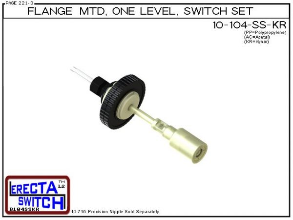 "10-104-SS-KR-BLK Flange Vertical Mounted One Level Shielded Level Switch Set (Kynar) features a 1-1/4"" NPT wiring receptacle providing a weather tight chamber for wire splices, slosh shield and our unique flange nuts.Kynar Liquid Level Switch version"